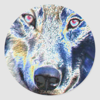 Wolf face colored round sticker