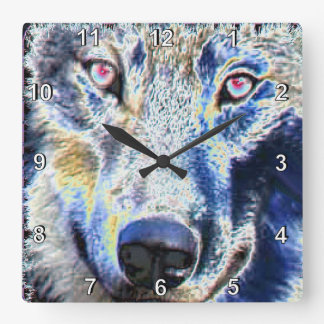 Wolf face colored wallclocks