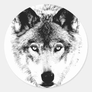 Wolf Face. Digital Wildlife Image. Round Sticker