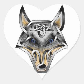 Wolf Face Heart Sticker
