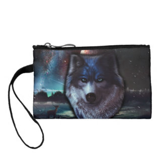 Wolf face in space,Blue wolf painting Coin Purse