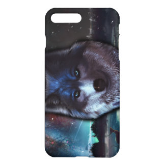 Wolf face in space,Blue wolf painting iPhone 7 Plus Case