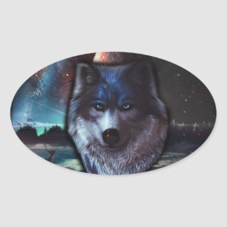 Wolf face in space,Blue wolf painting Oval Sticker