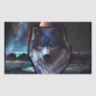 Wolf face in space,Blue wolf painting Rectangular Sticker