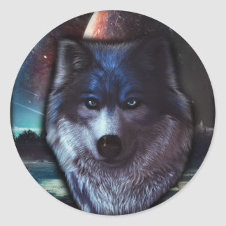 Wolf face in space,Blue wolf painting Round Sticker