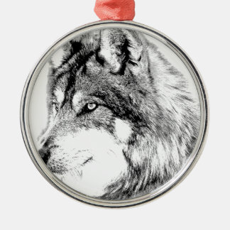 Wolf Face. Majestic Wolf Gazes Into The Distance. Christmas Ornament