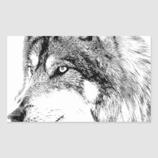 Wolf Face. Majestic Wolf Gazes Into The Distance. Rectangular Sticker