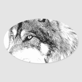 Wolf Face. Majestic Wolf Gazes Into The Distance. Oval Stickers
