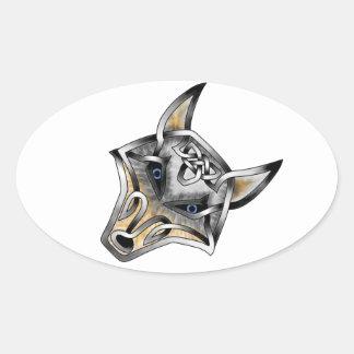 Wolf Face Oval Sticker