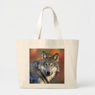 Wolf Face Photo Large Tote Bag