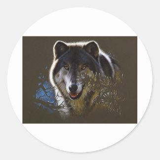 Wolf Face Portrait Round Sticker