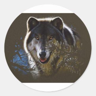 Wolf Face Portrait Round Stickers