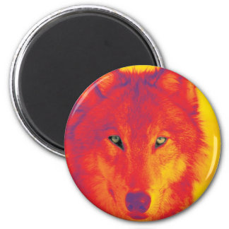 Wolf Face - Red & Yellow Magnet