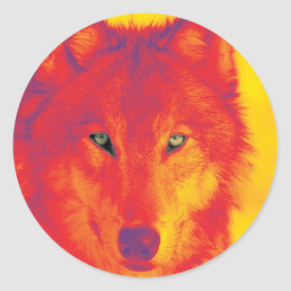 Wolf Face - Red & Yellow Classic Round Sticker