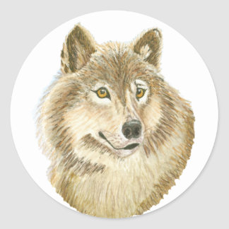 wolf face classic round sticker