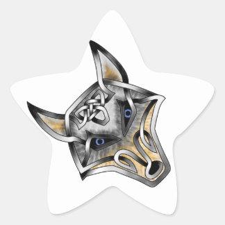 Wolf Face Star Sticker