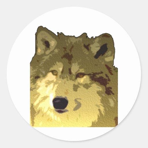 Wolf Face Round Stickers
