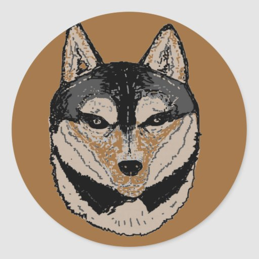 Wolf Face Round Sticker