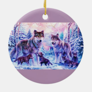 Wolf Family Christmas Ornament