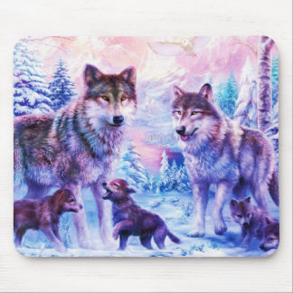 Wolf Family Mouse Mat