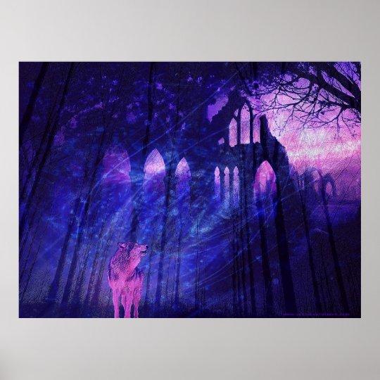 Wolf Fantasy Scene Poster by Jessie' Art