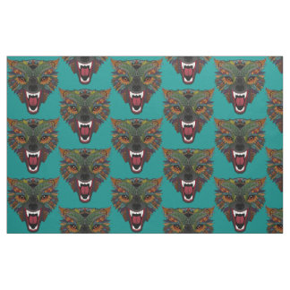 wolf fight flight teal blue fabric
