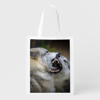 Wolf Fight Reusable Grocery Bag