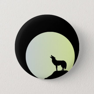 wolf full moon 6 cm round badge