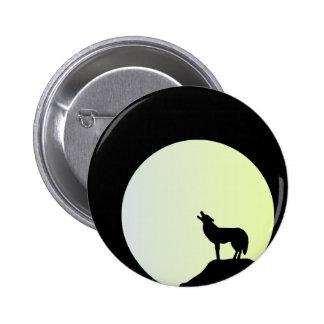 wolf full moon 6 cm round badge