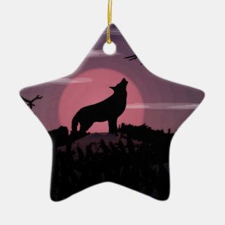 wolf full moon christmas ornament