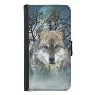 Wolf Full Moon in Fog Samsung Galaxy S5 Wallet Case