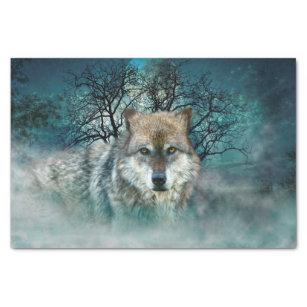 Wolf Full Moon in Fog Tissue Paper