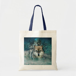 Wolf Full Moon in Fog Tote Bag