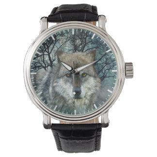 Wolf Full Moon in Fog Wristwatch