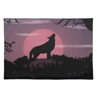 wolf full moon placemat