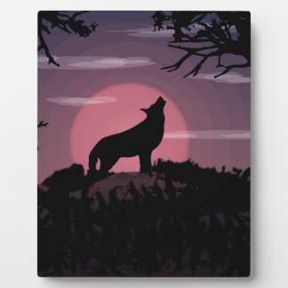 wolf full moon plaque