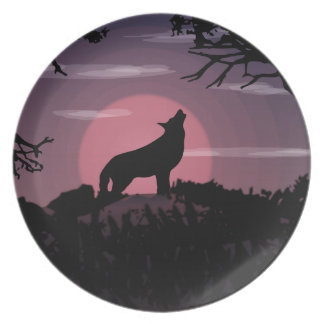 wolf full moon plate