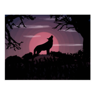wolf full moon postcard