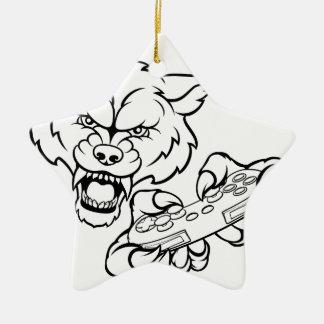 Wolf Gamer Mascot Christmas Ornament