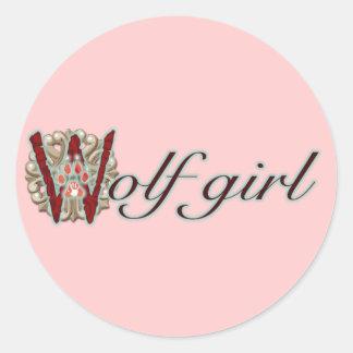 Wolf Girl Round Sticker