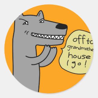 Wolf (golden) round sticker