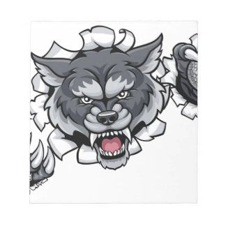 Wolf Golf Mascot Breaking Background Notepad