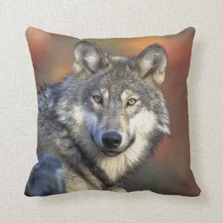 Wolf Gray Wildlife Creature Majestic Throw Pillow