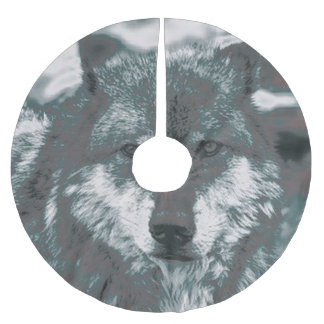Wolf,green Brushed Polyester Tree Skirt