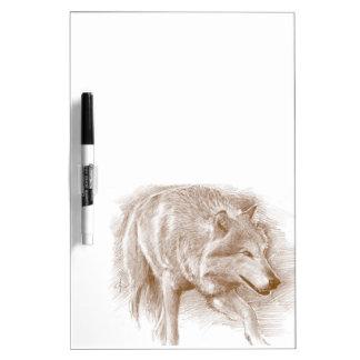Wolf - hand-draw pencil dry erase board