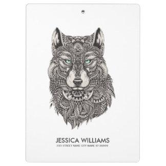 Wolf Head Black Ornate Illustration Clipboard