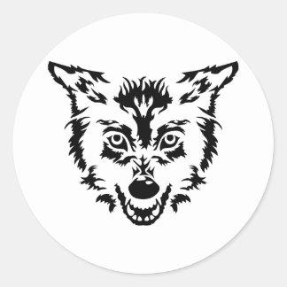 Wolf head face round stickers