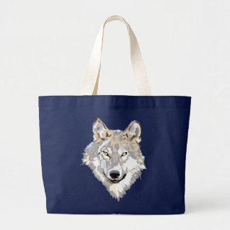 Wolf head head large tote bag