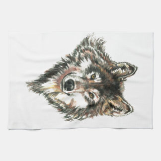 Wolf Head logo Watercolor art Tea Towel