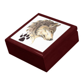 Wolf Head Profile with Paw Print Large Square Gift Box